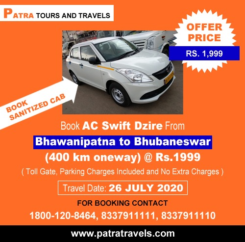 Bhawanipatna to Bhubaneswar Taxi at Just Rs.1999 by Patra Tours And Travels