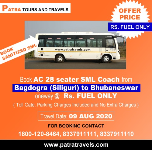 Bagdora to Bhubaneswar ( 28 Seater Luxury SML Bus ) from Patra Tours And Travels